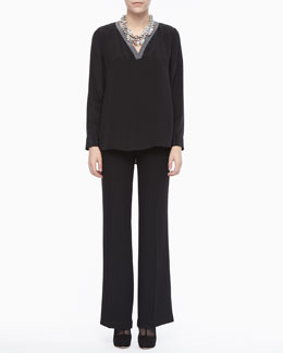 Eileen Fisher V-Neck Henley Top & Tropical Suiting Wide-Leg Trousers