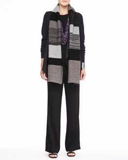 Eileen Fisher Colorblocked Shine Scarf, Lightweight Boiled Wool Jacket, Silk Jersey Tee & Wide-Leg Trousers