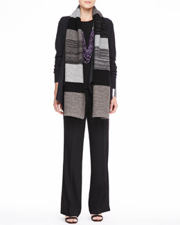 Eileen Fisher Colorblocked Shine Scarf, Lightweight Boiled Wool Jacket, Silk Jersey Tee & Wide-Leg Trousers, Petite