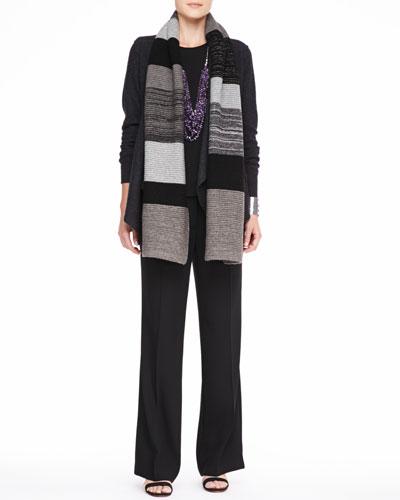 Eileen Fisher Colorblocked Shine Scarf, Lightweight Boiled Wool Jacket, Silk Jersey Tee & Wide-Leg Trousers, Petite