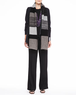 Eileen Fisher Colorblocked Shine Scarf, Lightweight Boiled Wool Jacket, Silk Jersey Tee & Wide-Leg Trousers, Women's
