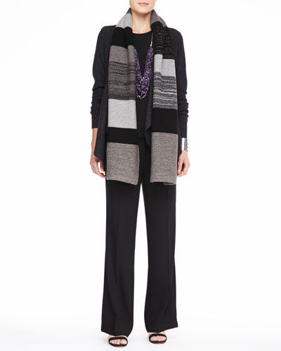 Eileen Fisher Colorblocked Shine Scarf, Lightweight Boiled Wool Jacket, Silk Jersey Tee & Wide-Leg Trousers, Women's