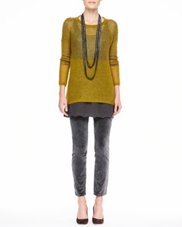 Eileen Fisher Plaited Mohair-Blend Jewel-Neck Tunic, Beaded Crochet Necklace, Silk Tank with Eyelet Trim & Velveteen Skinny Jeans