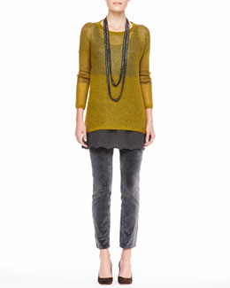 Eileen Fisher Plaited Mohair-Blend Jewel-Neck Tunic, Beaded Crochet Necklace & Velveteen Skinny Jeans, Petite