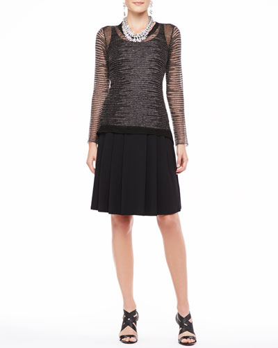 Eileen Fisher Twist-Knit Mohair-Blend Long-Sleeve Top, Silk-Jersey Long Slim Camisole & Pleated Jersey A-Line Skirt