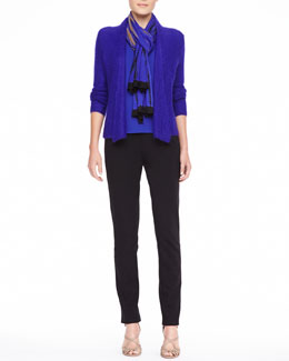 Eileen Fisher Plaited Draped Mohair-Blend Cardigan, Silk Jersey Long-Sleeve Tee, Shibori Knit Tencel Scarf & Zipper-Cuff Skinny Pants