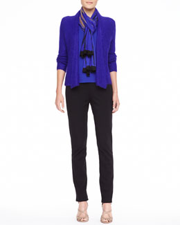 Eileen Fisher Plaited Draped Mohair-Blend Cardigan, Silk Jersey Long-Sleeve Tee, Shibori Knit Tencel Scarf & Zipper-Cuff Skinny Pants, Petite