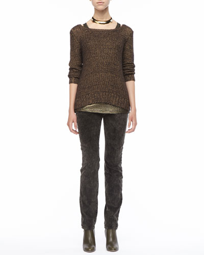 Eileen Fisher Metallic Sheen Sweater,  Long Shimmer Jersey Tank & Velveteen Jeans