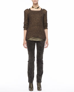 Eileen Fisher Metallic Sheen Sweater,  Long Shimmer Jersey Tank & Velveteen Jeans, Petite
