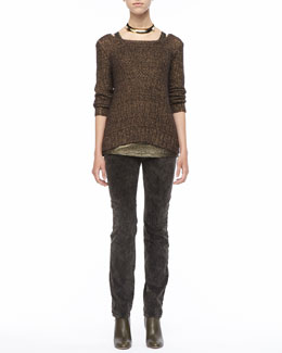 Eileen Fisher Metallic Sheen Sweater,  Long Shimmer Jersey Tank & Velveteen Jeans, Women's