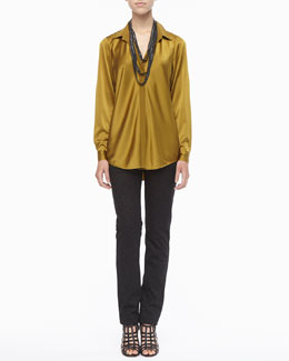 Eileen Fisher Silk Long-Sleeve Shirt, Beaded Crochet Necklace & Patterned Stretch Skinny Jeans
