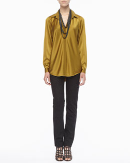 Eileen Fisher Silk Long-Sleeve Shirt, Beaded Crochet Necklace & Patterned Stretch Skinny Jeans, Petite