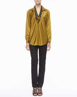 Eileen Fisher Silk Long-Sleeve Shirt, Beaded Crochet Necklace & Patterned Stretch Skinny Jeans, Women's