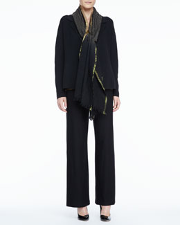 Eileen Fisher Notch-Collar Silk-Cotton Interlock Jacket, Dip-Dyed Wool Wrap & Charmeuse Tank