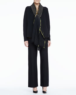 Eileen Fisher Silk-Cotton Interlock Notch-Collar Jacket, Dip-Dyed Wool Wrap & Charmeuse Tank, Petite