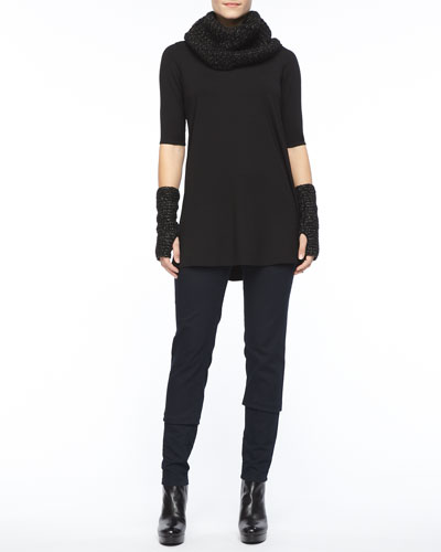 Eileen Fisher Viscose Jersey Half-Sleeve Tunic, Stretchy Jean Leggings, Sparkle Knit Infinity Scarf & Sparkle Knit Glovettes, Petite