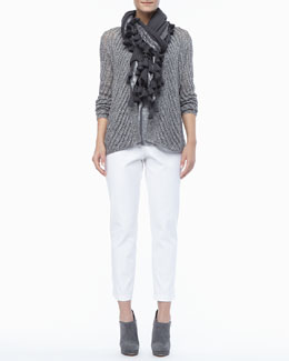 Eileen Fisher Twist Open-Weave Cardigan, Shimmer Linen Tank, Tasseled Shimmer Wool Wrap & Organic Stretch Twill Slim Ankle Pants