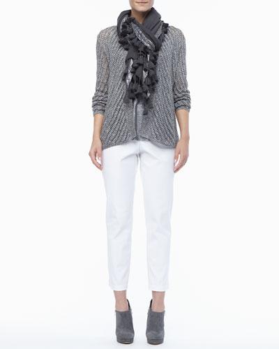 Eileen Fisher Twist Open-Weave Cardigan, Shimmer Linen Tank, Tasseled Shimmer Wool Wrap & Organic Stretch Twill Slim Ankle Pants