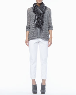 Eileen Fisher Twist Open-Weave Cardigan, Shimmer Linen Tank, Tasseled Shimmer Wool Wrap & Organic Stretch Twill Slim Ankle Pants, Petite