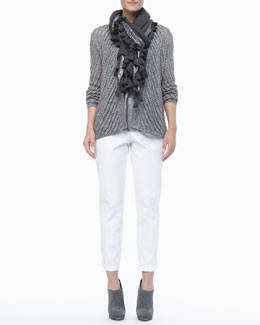 Eileen Fisher Twist Open-Weave Cardigan, Shimmer Linen Jersey Tank, Tasseled Shimmer Wool Wrap & Organic Stretch Twill Slim Ankle Pants, Women's