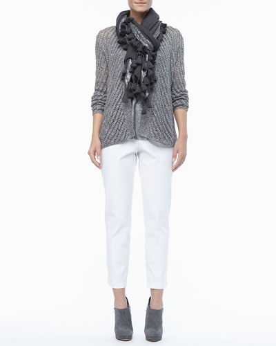 Eileen Fisher Twist Open-Weave Cardigan, Shimmer Linen Jersey Tank, Tasseled Shimmer Wool Wrap & Organic Stretch Twill Slim Ankle Pants, Women's