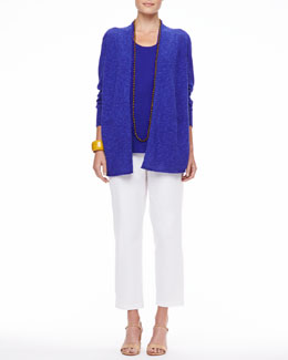 Eileen Fisher Long Linen-Cotton Slub Cardigan, Long Organic Linen-Jersey U-Neck Tank & Organic Stretch Twill Slim Ankle Pants