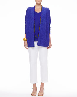 Eileen Fisher Long Linen-Cotton Slub Cardigan, Long Organic Linen-Jersey U-Neck Tank & Organic Stretch Twill Slim Ankle Pants, Petite
