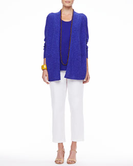 Eileen Fisher Long Linen-Cotton Slub Cardigan, Long Organic Linen-Jersey U-Neck Tank & Organic Stretch Twill Slim Ankle Pants, Women's