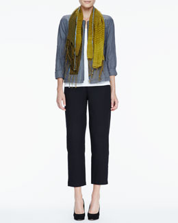 Eileen Fisher Rumpled Zip-Front Jacket, Slim Tank, Linen Cashmere Scarf & Ankle Pants