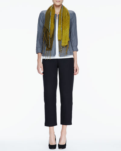 Eileen Fisher Rumpled Zip-Front Jacket, Slim Tank, Linen Cashmere Scarf & Ankle Pants, Petite