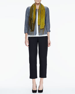 Eileen Fisher Rumpled Zip-Front Jacket, Slim Tank, Linen Cashmere Scarf & Ankle Pants, Women's