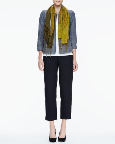 Eileen Fisher Rumpled Zip-Front Jacket, Slim Tank, Linen Cashmere Scarf & Ankle Pants, Women's