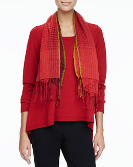 Eileen Fisher Merino Scoop-Neck Sweater & Airy Linen/Wool Square Scarf, Women's
