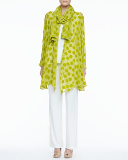 Caroline Rose Dot Burnout Long Jacket, Stretch-Knit Long Tank, Stretch-Knit Slim Pants & Dot Crinkle Scarf
