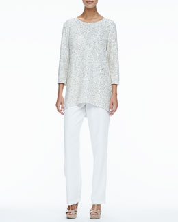 Caroline Rose Glitter High-Low Tunic & Crepe Straight-Leg Pants