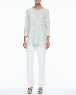 Caroline Rose Glitter High-Low Tunic & Crepe Straight-Leg Pants, Petite