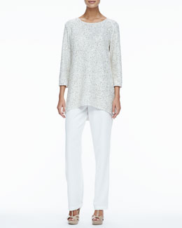 Caroline Rose Glitter High-Low Tunic & Crepe Straight-Leg Pants, Women's