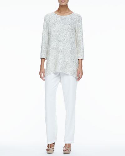 Caroline Rose Glitter High-Low Tunic & Crepe Straight-Leg Pants, Women's