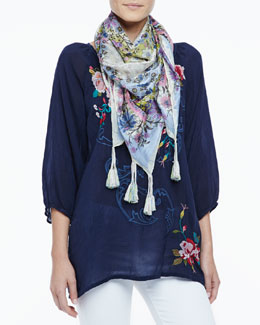 Johnny Was Collection Mischa Embroidered Georgette Blouse & Opium Printed Silk Scarf