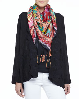 Johnny Was Collection Freedom Embroidered Cardigan & Kamelia Printed Silk Scarf, Women's