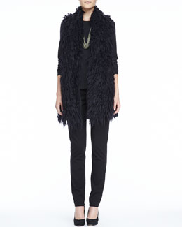 Eileen Fisher Mohair Straight Vest, Long-Sleeve Tee, Slim Ponte Pants & Sparkle Knit Scarf Necklace