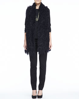 Eileen Fisher Mohair Straight Vest, Long-Sleeve Tee, Slim Ponte Pants & Sparkle Knit Scarf Necklace, Women's