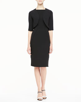 Lela Rose Gabardine Shrug & Sleeveless Boat-Neck Sheath Dress