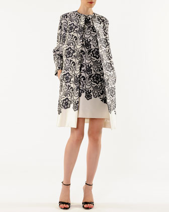 Lace-Print Belted Robe Coat and Sleeveless Shift Dress