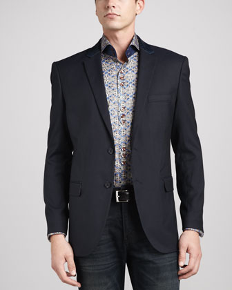Leather-Trim Jacquard Sport Coat & D-Matis Printed Sport Shirt