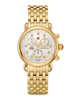 MICHELE CSX-36 Diamond-Dial Chronograph Watch Head & Bracelet, Golden