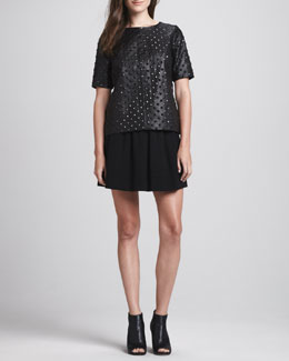 Milly Studded Leather Tee & A-Line Wool Skirt