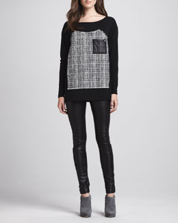 Milly Tweed-Panel Jersey Tee & Monic Leather Skinny Pants