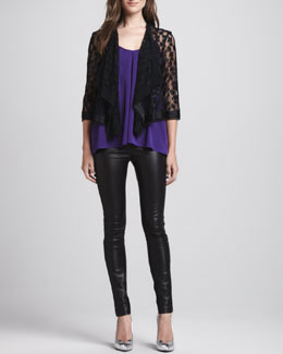 Milly Draped Open Lace Jacket, Pleated Sleeveless Silk Top & Monic Leather Skinny Pants