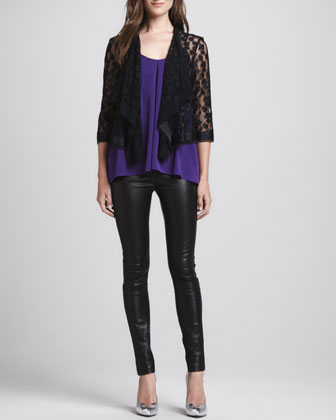 Draped Open Lace Jacket, Pleated Sleeveless Silk Top & Monic Leather Skinny ...